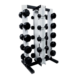 Rubber Dumbbell Set w/ Upright Rack & Mat- 10 Pairs (5-50lbs)