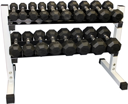 Rubber Dumbbell Set- 9 Pairs W/ Rack (2-25lbs)
