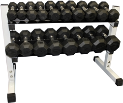 Rubber Dumbbell Set- 9 Pairs W/ Rack (3-30lbs)