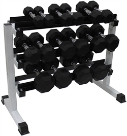 Rubber Dumbbell Set- 8 Pairs W/ Rack (5-50lbs)