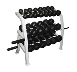 Rubber Dumbbell Set- 10 Pairs W/ Plate Holder Rack (5-50lbs)