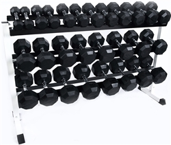 Rubber Dumbbell Set- 14 Pairs W/ Rack (5-70lbs)