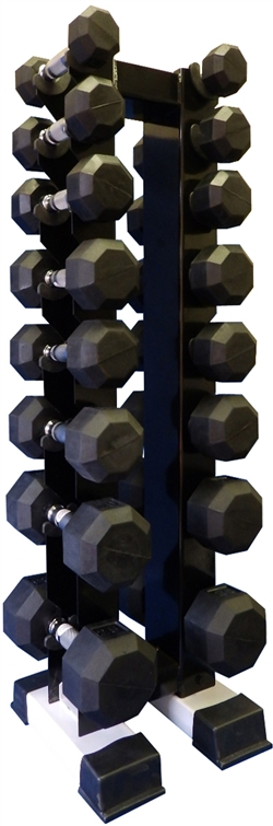 Rubber Dumbbell Set w/ Upright Rack- 8 Pairs (5-40lbs)