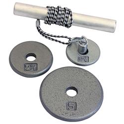 "Power Wrist Roller w/ 1"" Gray Plates (1.25, 2.5, 5lb)"