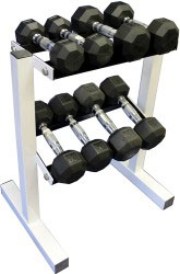 Rubber Dumbbell Set w/ Rack- 4 Pairs (5-15lbs)
