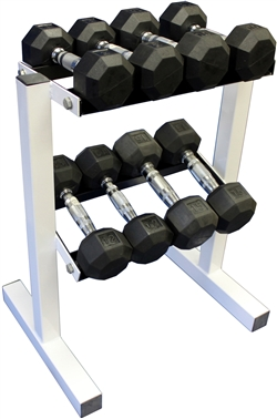 Rubber Dumbbell Set w/ Rack- 4 Pairs (8-15lbs)