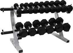 Rubber Dumbbell Set- 8 Pairs W/ Plate Holder Rack (5-50lbs)