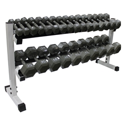Cast Iron Dumbbell Set w/ Rack- 10 Pairs (5-50lbs)