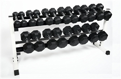 Rubber Dumbbell Set- 10 Pairs W/ Rack (5-50lbs)