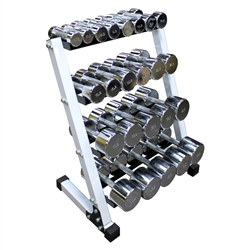 "Chrome Dumbbell Set w/ 4-Tier 24"" Rack- 10 Pairs (3-50lbs)"