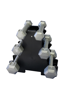 Cast Iron Hex Dumbbell Set w/ Rack- 3 Pairs (1-5lbs)