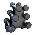 Rubber Dumbbell Set w/ Mini Rack- 3 Pairs (5-12lbs)