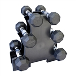 Rubber Dumbbell Set w/ Mini Rack- 3 Pairs (2-5lbs)
