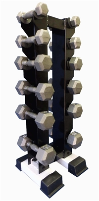 Cast Iron Dumbbell Set w/ Upright Rack- 6 Pairs (5-30lbs)