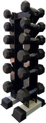 Rubber Dumbbell Set w/ Upright Rack- 6 Pairs (3-15lbs)