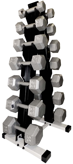 Cast Iron Hex Dumbbell Set w/ A-Shape Rack- 7 Pairs (3-20lbs)