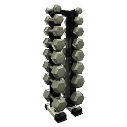 Cast Iron Dumbbell Set w/ Upright Rack- 8 Pairs (3-25lbs)