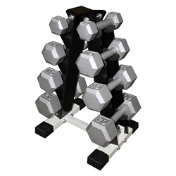 Cast Iron Hex Dumbbell Set w/ Rack- 4 Pairs (3-15lbs)