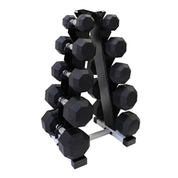Rubber Dumbbell Set w/ A-Shape Rack- 5 Pairs (5-25lbs)