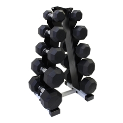 Rubber Dumbbell Set w/ A-Shape Rack- 5 Pairs (8-25lbs)