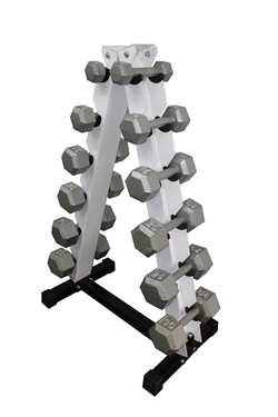Cast Iron Hex Dumbbell Set w/ A-Shape Rack- 6 Pairs (2-12lbs)