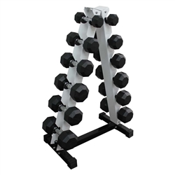 Rubber Dumbbell Set w/ A-Shape Rack- 6 Pairs (3-15lbs)