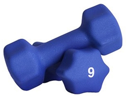 Blue Neoprene Dumbbell Pair- 9lb