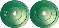 Pair of 10lb Green Solid Rubber Bumper Plates