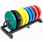 Ader Solid Color Olympic Rubber Bumper Plate Set w/ Rack